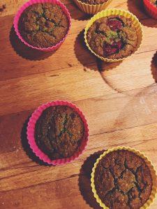 Muffins de Clorela e Framboesas
